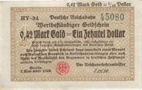 RVM-26a Reichsbahn Berlin 0,42 Mark Gold = 1/10 Dollar 7.11.1923 (2)