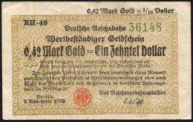 RVM-26a Reichsbahn Berlin 0,42 Mark Gold = 1/10 Dollar 7.11.1923 (3)