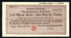 RVM-27a Reichsbahn Berlin 1,05 Mark Gold = 1/4 Dollar 7.11.1923 (1-)