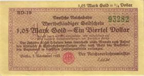 RVM-27a Reichsbahn Berlin 1,05 Mark Gold = 1/4 Dollar 7.11.1923 (1/1-)