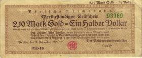 RVM-28 Reichsbahn Berlin 2,1 Mark Gold = 1/2 Dollar 7.11.1923 (3-)