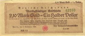 RVM-28 Reichsbahn Berlin 2,1 Mark Gold = 1/2 Dollar 7.11.1923 (3+)