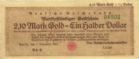 RVM-28 Reichsbahn Berlin 2,1 Mark Gold = 1/2 Dollar 7.11.1923 (3)