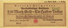 RVM-28a Reichsbahn Berlin 2,1 Mark Gold = 1/2 Dollar 7.11.1923 (1)