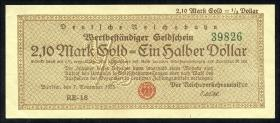RVM-28b Reichsbahn Berlin 2,10 Mark Gold = 1/2 Dollar RB 7.11.1923 (1)
