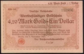 RVM-30 Reichsbahn Berlin 4,20 Mark Gold = 1 Dollar 7.11.1923 (1)