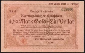 RVM-30 Reichsbahn Berlin 4,20 Mark Gold = 1 Dollar 7.11.1923 (2)