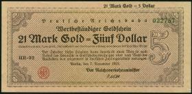 RVM-32 Reichsbahn Berlin 21 Mark Gold  = 5 Dollar 7.11.1923 (1)
