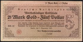 RVM-32 Reichsbahn Berlin 21 Mark Gold = 5 Dollar 7.11.1923 (3+)