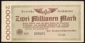 RVM-02 Reichsbahn Berlin 2 Millionen Mark 1923 (1) Nr. 000001