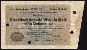R-WTB 24: 4,20 Mark Gold = 1 Dollar USA 1923 (3-)