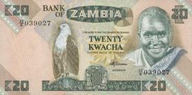 Sambia / Zambia P.27e 20 Kwacha (1980-88) (1)
