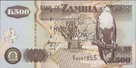 Sambia / Zambia P.39c 500 Kwacha 2001 (1)