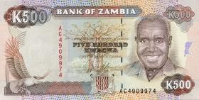 Sambia / Zambia P.35 500 Kwacha (1991) (1)