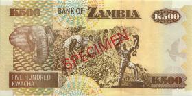 Sambia / Zambia P.35s 500 Kwacha (1991) Specimen (1)