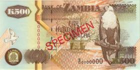 Sambia / Zambia P.39s 500 Kwacha 1992 - 2003 Specimen (1)