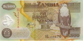 Sambia / Zambia P.43f 500 Kwacha 2009 Polymer (1)