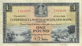Schottland / Scotland Clydesdale Bank P.191b 1 Pound 1958 (3)