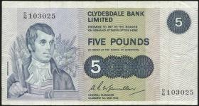 Schottland / Scotland Clydesdale Bank P.205b 5 Pounds Sterling 1972 (2)