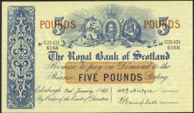 Schottland / Scotland Royal Bank P.323c 5 Pounds 1963 (2+)