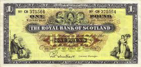 Schottland / Scotland Royal Bank P.325b 1 Pound 1965 (3+)