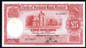 Schottland / Scotland North of Scotland Bank  P.S645 5 Pounds 1943 (2-)