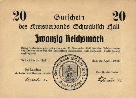 Schwäbisch Hall 20 Reichsmark 16.4.1945 (1)