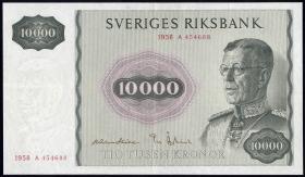 Schweden / Sweden P.49 10000 Kronen 1958 (3+)