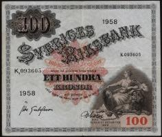 Schweden / Sweden P.45d 100 Kronen 1958 (3+)