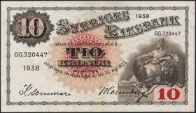 Schweden / Sweden P.34u 10 Kronen 1938 (1-)