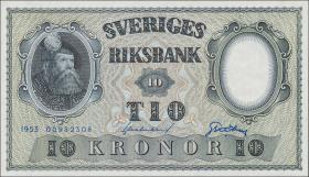 Schweden / Sweden P.43a 10 Kronen 1953 Gustav Wasa (1)