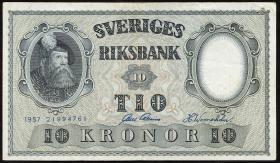 Schweden / Sweden P.43 10 Kronen 1956-1962 Gustav Wasa (3+)