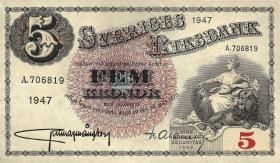 Schweden / Sweden P.33ad 5 Kronen 1947 (1)