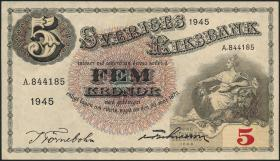 Schweden / Sweden P.33ab 5 Kronen 1945 (1/1-)