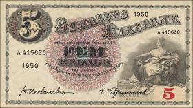 Schweden / Sweden P.33ag 5 Kronen 1950 (1)