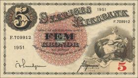 Schweden / Sweden P.33ah 5 Kronen 1951 (1)