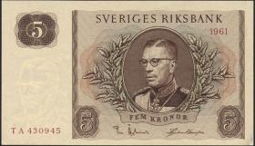 Schweden / Sweden P.42f 5 Kronen 1961 Gustav VI. (1-)