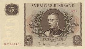 Schweden / Sweden P.42f 5 Kronen 1961 Gustav VI. (1)