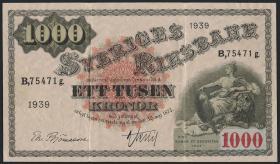 Schweden / Sweden P.38d 1000 Kronen 1939 (3)
