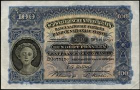 Schweiz / Switzerland P.35v 100 Franken 1949 (3/2)