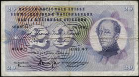 Schweiz / Switzerland P.46 20 Franken 1967-1974 (3-)