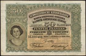 Schweiz / Switzerland P.34a 50 Franken 1924 (3/3-)