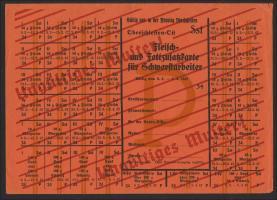 """Oberschlesien Lebensmittelkarte 1942 (2) """"Muster Zulagekarte für Schwerstarbeiter"""""""