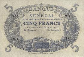 Senegal, Frz. Verwaltung 5 Francs L 1874 (1853) (1)