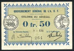 Senegal, Frz. Verwaltung p.01b 0,50 Francs L 1917 (2)