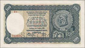Slowakei / Slovakia P.11s 100 Korun 1940 Specimen (1)