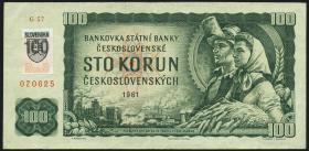 Slowakei / Slovakia P.17 100 Kronen (1993) mit Klebemarke (3)