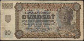 Slowakei / Slovakia P.07a 20 Korun 1942 (3-)