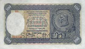 Slowakei / Slovakia P.10s 100 Korun 1940 Specimen (1)