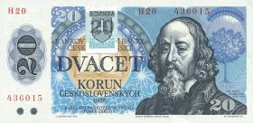Slowakei / Slovakia P.15 20 Kronen (1993) mit Klebemarke (1-)